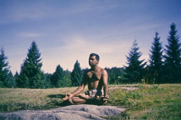 Swami Vishnudevananda meditating at Sivananda Ashram Yoga Camp Val Morin Quebec
